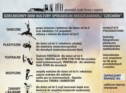 """Zajęcia w roku szkolnym 2018/2019 w DDK SM """"Czechów"""""""