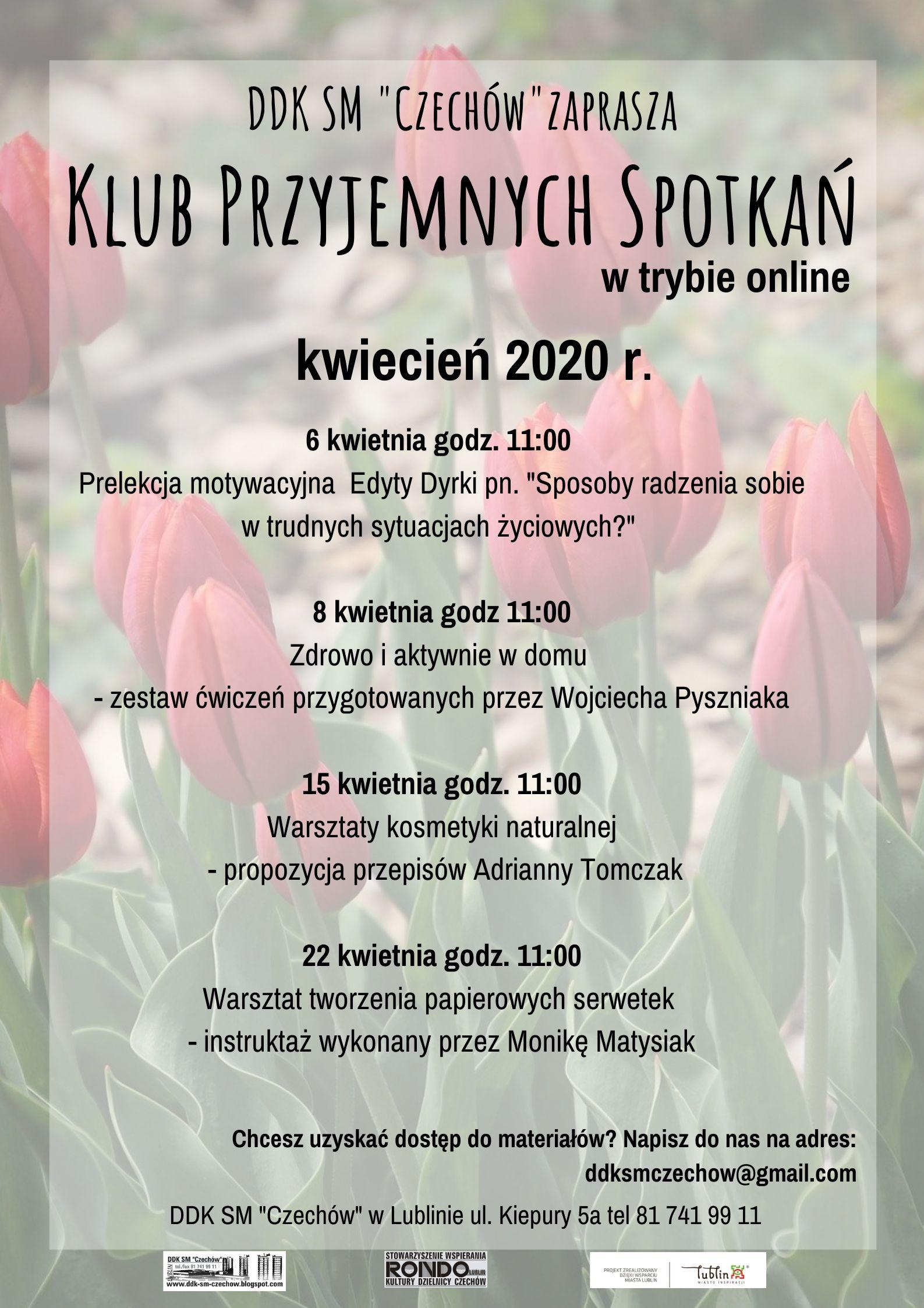 Klub Przyjemnych Spotkań wtrybie online – kwiecień 2020